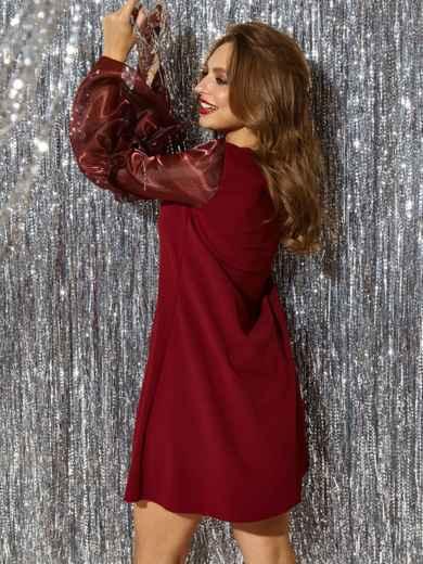 """Бордовое платье с рукавом """"колокол"""" и оборкой 42996, фото 2"""