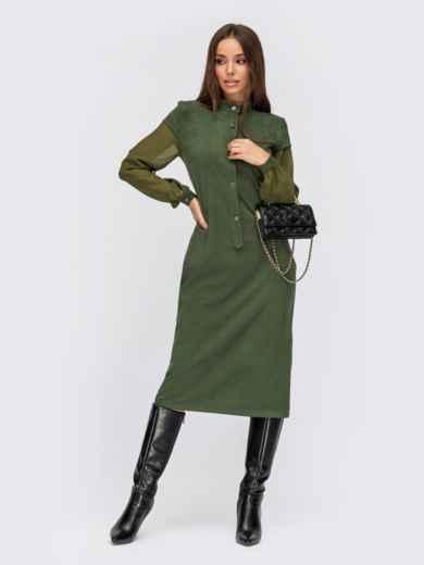 Приталенное платье из замши цвета хаки с шифоновыми рукавами 55525, фото 1