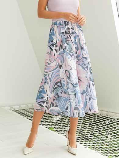 Шифоновая юбка-миди с абстрактным принтом розовая 54190, фото 1