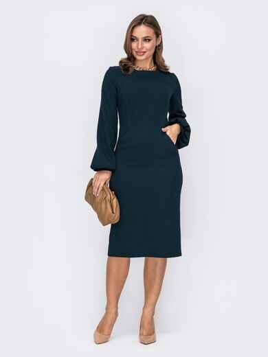 Классическое платье-футляр с объемными рукавами зеленое 51970, фото 1