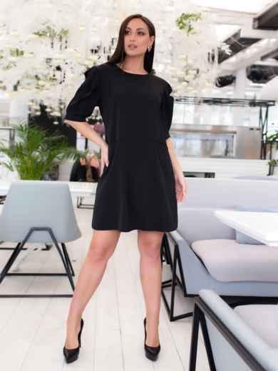 Короткое платье-трапеция большого размера чёрное - 46508, фото 2 – интернет-магазин Dressa
