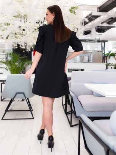 Короткое платье-трапеция большого размера чёрное - 46508, фото 4 – интернет-магазин Dressa
