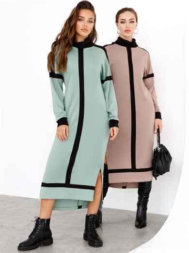 Мятное платье с воротником-стойкой и контрастными вставками 52544, фото 1