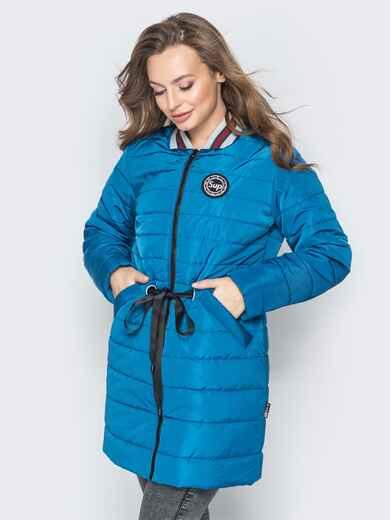 Удлиненная куртка-бомбер с кулиской на талии бирюзовая 20246, фото 1
