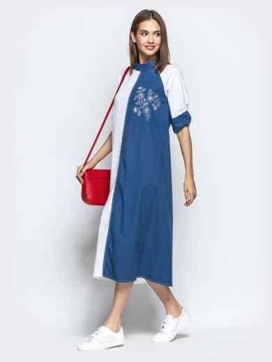 Бело-синее платье-трапеция с авторской вышивкой - 21924, фото 2 – интернет-магазин Dressa