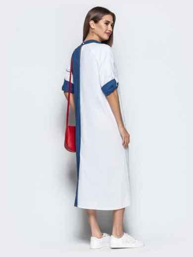 Бело-синее платье-трапеция с авторской вышивкой - 21924, фото 3 – интернет-магазин Dressa