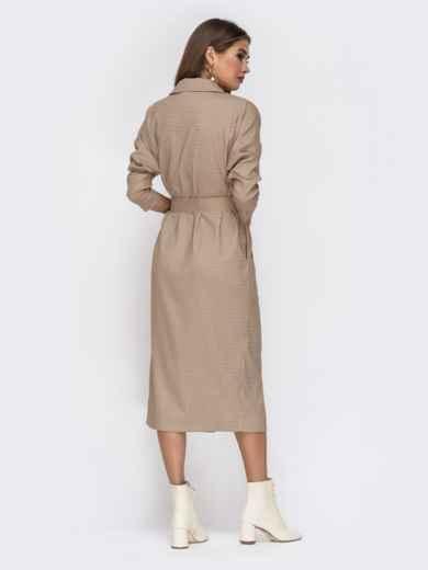 """Бежевое платье с рукавами """"летучая мышь"""" и разрезом на юбке - 42224, фото 5 – интернет-магазин Dressa"""