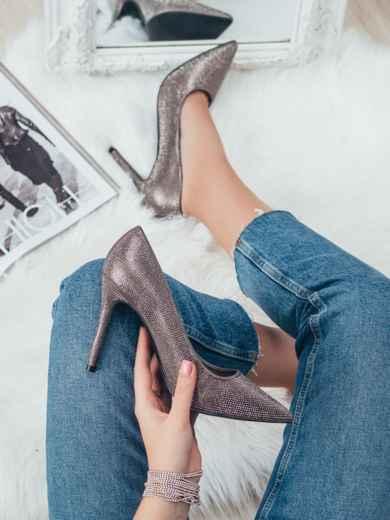 Серые туфли со стразами на шпильке 50597, фото 1