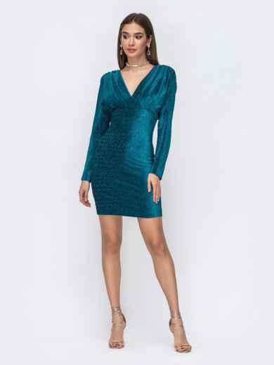 Платье-мини с люрексом и драпированным лифом синее 43020, фото 1