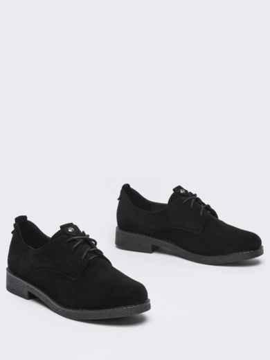 Чёрные туфли на низком ходу со шнуровкой 50585, фото 2