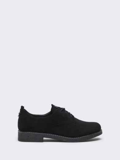 Чёрные туфли на низком ходу со шнуровкой 50585, фото 3