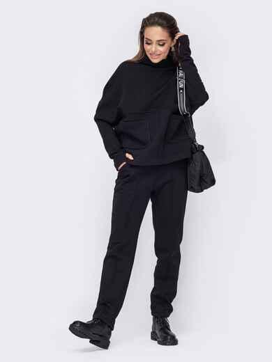 Черный костюм из джемпера и зауженных брюк 52783, фото 1