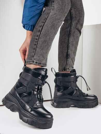 Дутые сапоги со шнуровкой черные 51802, фото 1