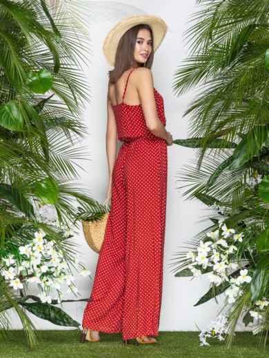 Комбинезон в горох с брюками-палаццо красный 39697, фото 3