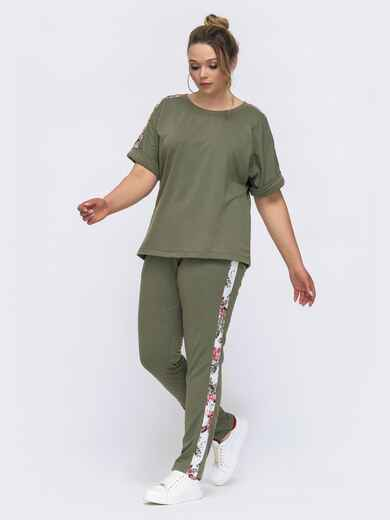 Комплект батал из футболки и брюк хаки 46194, фото 1