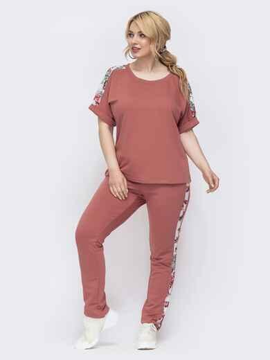 Комплект батал из футболки и брюк розовый 46195, фото 1