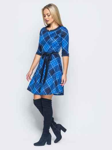 Платье в клетку синего цвета с юбкой полусолнце - 17481, фото 2 – интернет-магазин Dressa