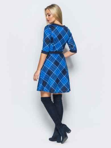 Платье в клетку синего цвета с юбкой полусолнце - 17481, фото 3 – интернет-магазин Dressa