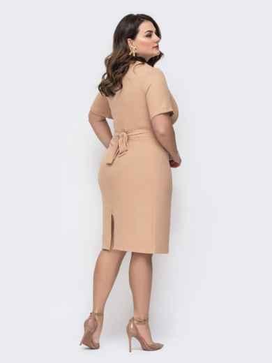 Приталенное платье большого размера бежевое 46198, фото 2