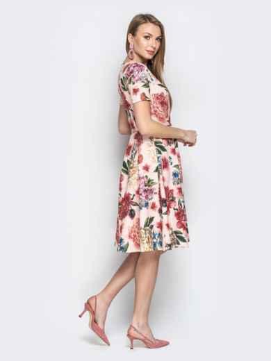 Пудровое платье с цветочным принтом и юбкой-клёш - 20960, фото 2 – интернет-магазин Dressa