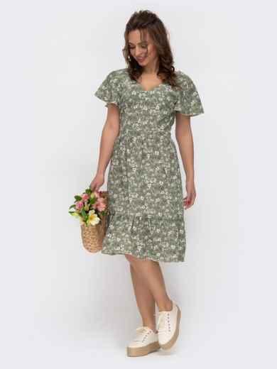 """Расклешенное платье с принтом и рукавом """"крылышко"""" зеленое 47294, фото 2"""