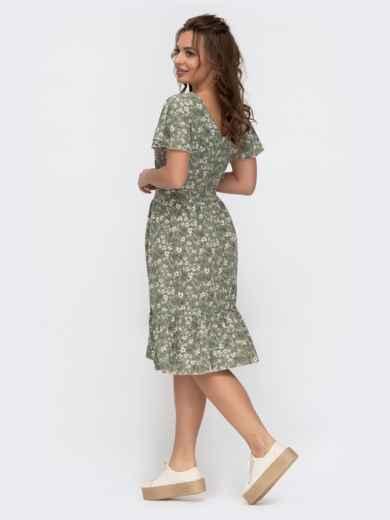 """Расклешенное платье с принтом и рукавом """"крылышко"""" зеленое 47294, фото 3"""