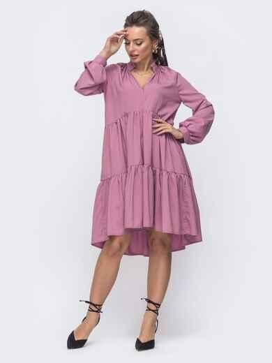 Расклешенное платье с воланом и воротником-стойкой розовое 46961, фото 1