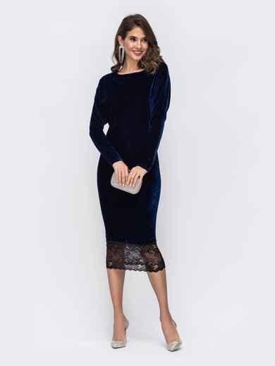 Тёмно-синее платье с гипюровыми вставками по спинке и низу 42635, фото 1
