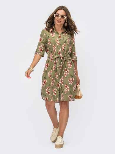 Зеленое платье-рубашка с кулиской по талии 54116, фото 1