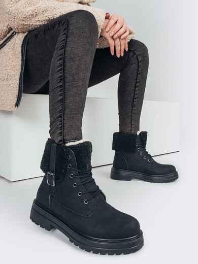 Зимние ботинки из нубука черного цвета на шнуровке 51803, фото 1