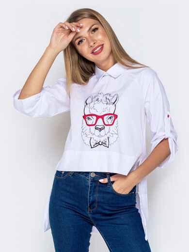 """Белая рубашка с удлиненной спинкой и вышивкой """"лама"""" 40864, фото 1"""