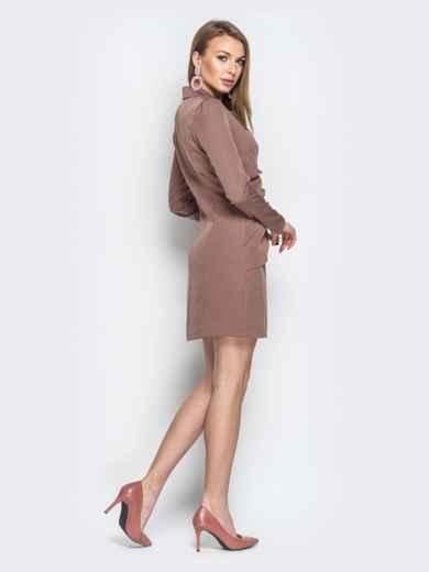 Бежевое платье-пиджак асимметричными вставками - 20378, фото 2 – интернет-магазин Dressa