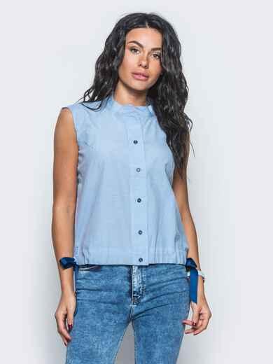 Голубая рубашка с завязками по низу - 12910, фото 1 – интернет-магазин Dressa