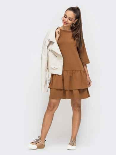 Коричневое платье-миди с двойным воланом по низу 50674, фото 1