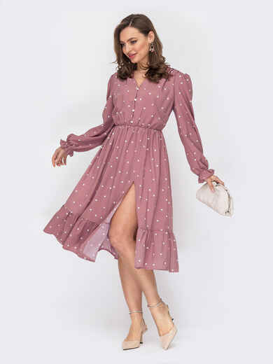 Розовое платье в горошек с юбкой-клеш 53849, фото 1