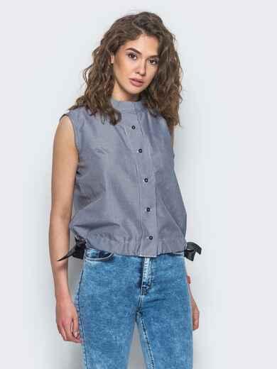 Серая рубашка с завязками по низу - 12909, фото 1 – интернет-магазин Dressa