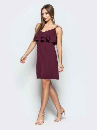Темно-бордовое платье на узких бретелях с оборками по верху - 22226, фото 2 – интернет-магазин Dressa