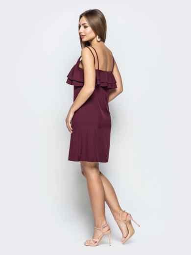Темно-бордовое платье на узких бретелях с оборками по верху - 22226, фото 3 – интернет-магазин Dressa