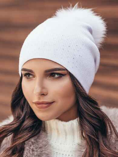 Белая шапка со стразами 14723, фото 1