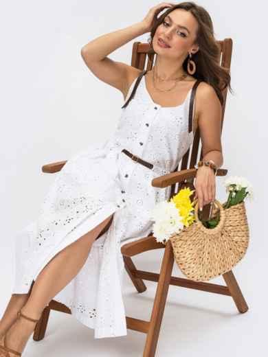 Белое платье из прошвы с пуговицами 54421, фото 1