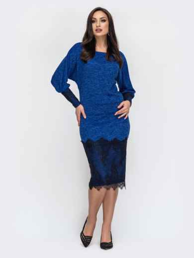 Синий костюм большого размера с кружевом по низу юбки 44490, фото 1
