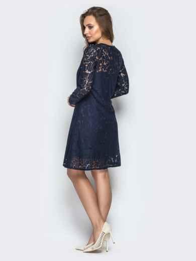 Гипюровое платье-трапеция с жемчужинами на кокетке синее - 20602, фото 3 – интернет-магазин Dressa