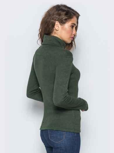 Гольф зелёного цвета с объёмным воротником - 17369, фото 3 – интернет-магазин Dressa