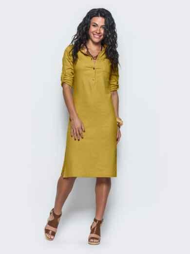 Горчичное льняное платье со шлёвками на рукавах 45449, фото 1