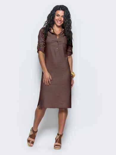 Коричневое льняное платье со шлёвками на рукавах 45448, фото 1