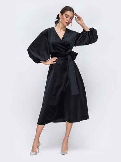 """Платье из бархата с рукавами """"фонарик"""" чёрное 43022, фото 1"""