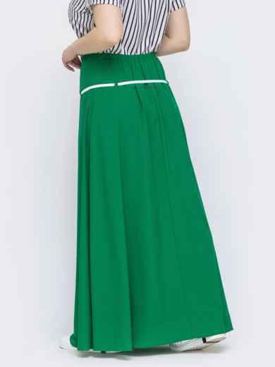 Расклешенная юбка-макси большого размера зеленая 46036, фото 2