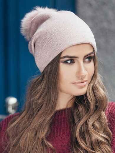 Розовая шапка со стразами - 14721, фото 1 – интернет-магазин Dressa