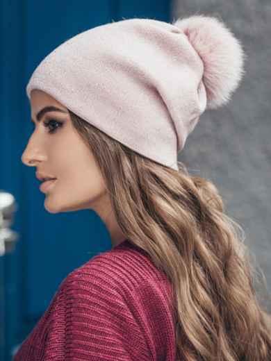 Розовая шапка со стразами - 14721, фото 2 – интернет-магазин Dressa