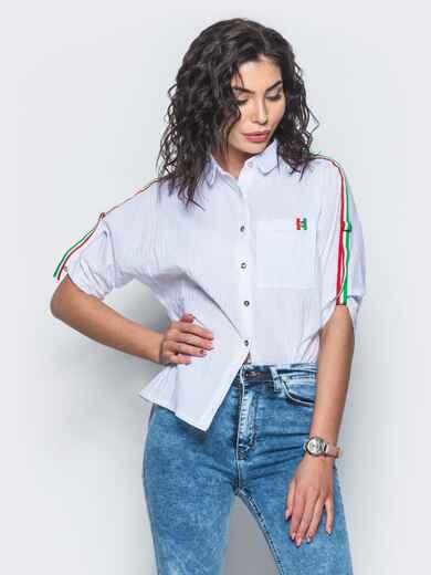 """Рубашка с контрастными лампасами и рукавом """"летучая мышь"""" - 13406, фото 1 – интернет-магазин Dressa"""